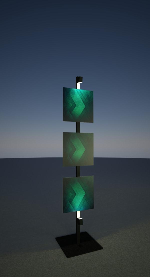 Perche lumineuse avec panneau décoratif