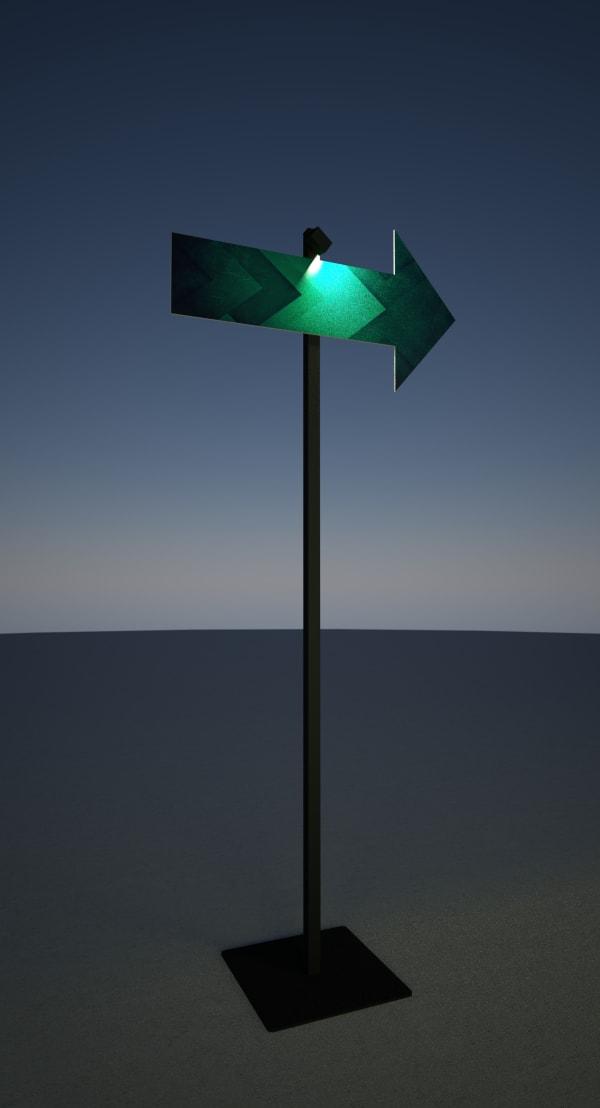 Perche lumineuse avec panneau signalétique
