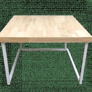 Table structure blanche 60 x 60 cm avec top en bois