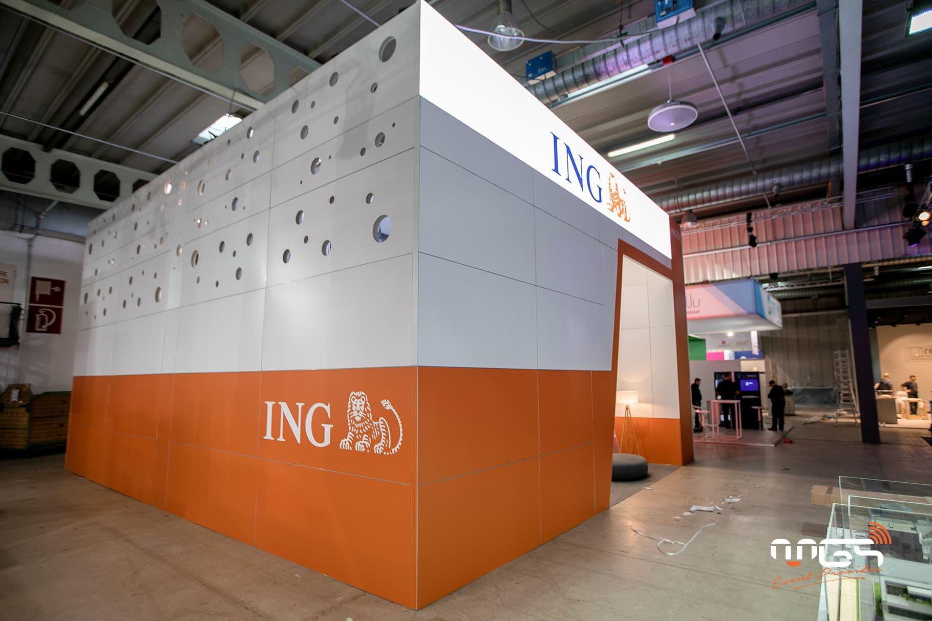 Conception et réalisation du stand ING sur deux étages
