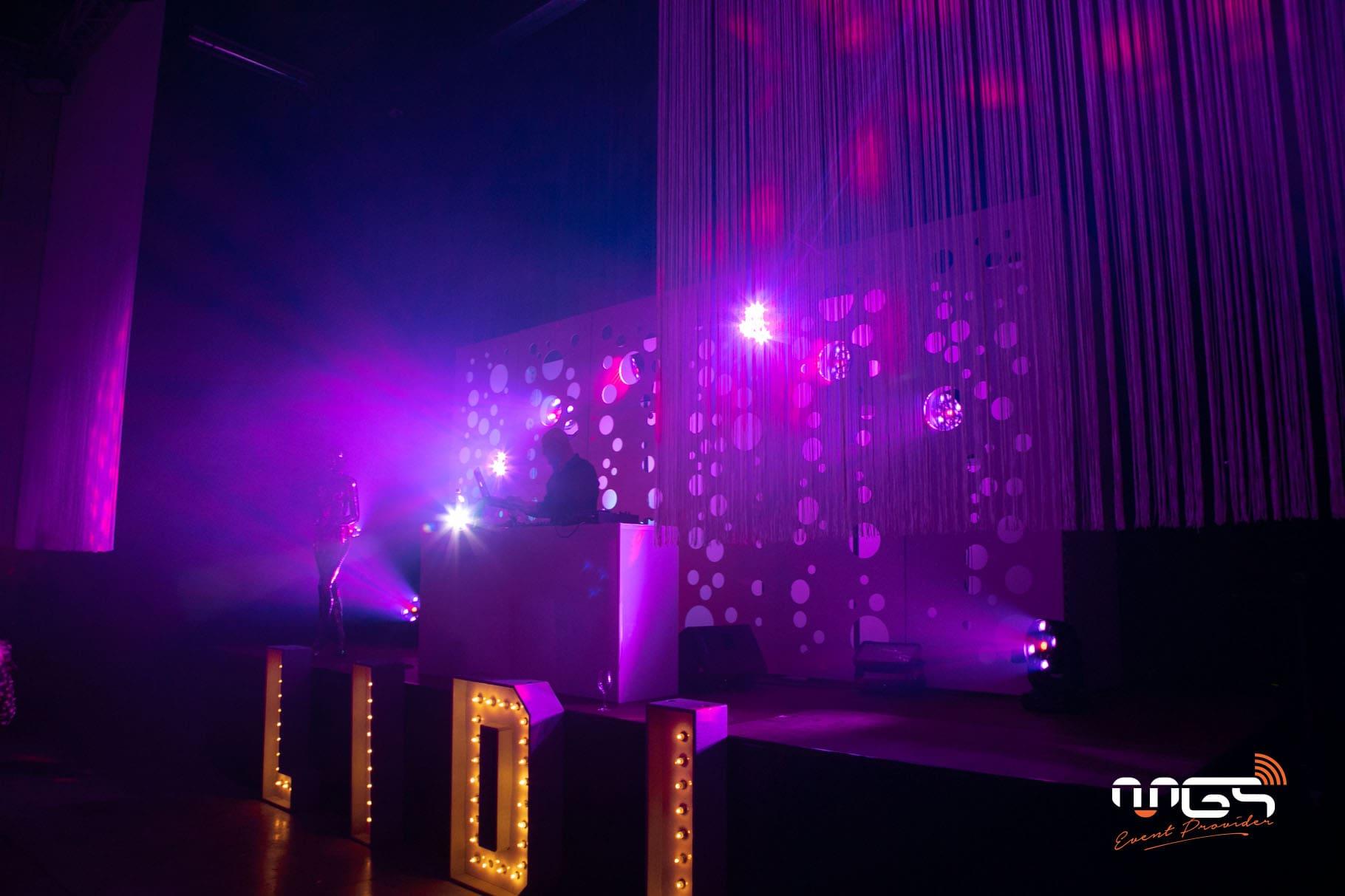Mise en lumière et décoration d'un événement disco pour Lidl